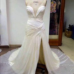 Custom Crinkle Chiffon Wedding Dress